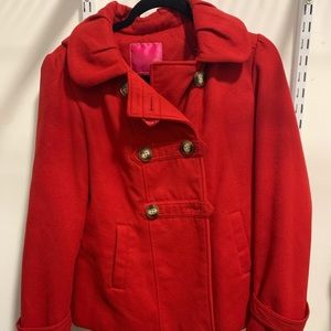 Pink Envelope Junior Red Pea coat